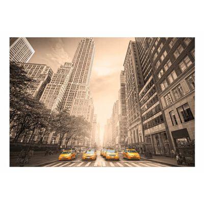 Fototapet - New York Taxi - Sepia - 100x70 Cm