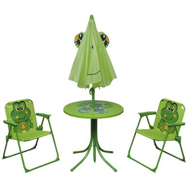 vidaXL Cafébord för barn med parasoll 3 delar grön