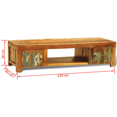 vidaXL TV-bänk med 2 lådor massivt återvunnet trä vintage