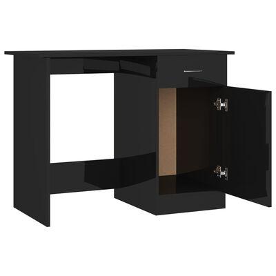 vidaXL Skrivbord svart högglans 100x50x76 cm spånskiva