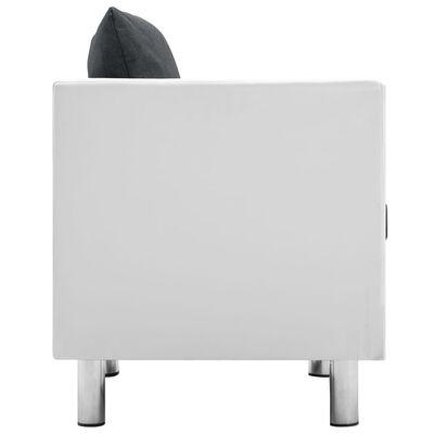 vidaXL Soffgrupp 3 delar konstläder vit och mörkgrå