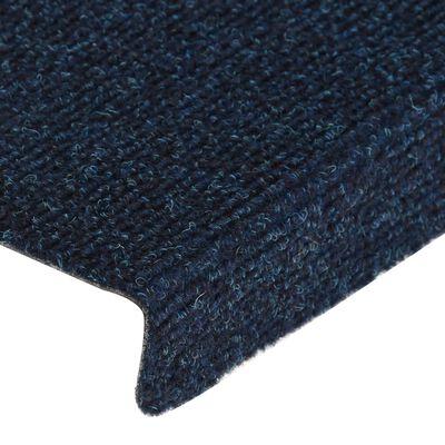 vidaXL Trappstegsmattor 15 st nålad 65x25 cm blå