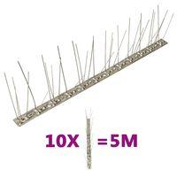 vidaXL 5-raders Fågelpiggar i rostfritt stål 10 st 5 m