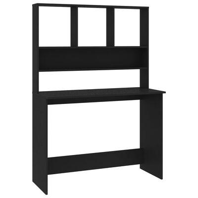 vidaXL Skrivbord med hyllor svart 110x45x157 cm spånskiva
