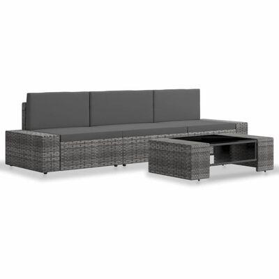 vidaXL Loungegrupp för trädgården 4 delar konstrotting grå