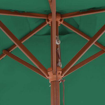 vidaXL Trädgårdsparasoll med trästång 150x200 cm grön