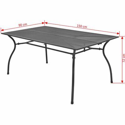 vidaXL Trädgårdsbord 150x90x72 cm stålnät