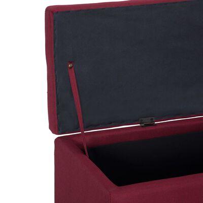 vidaXL Bänk med förvaringsutrymme 116 cm vinröd polyester