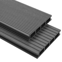vidaXL WPC golvplattor med tillbehör 20 m² 2,2 m grå
