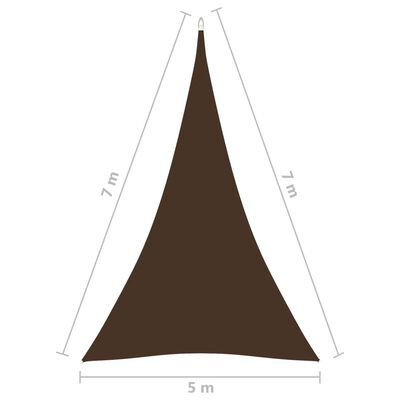 vidaXL Solsegel oxfordtyg trekantigt 5x7x7 m brun