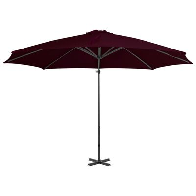 vidaXL Frihängande parasoll med aluminiumstång röd 300 cm