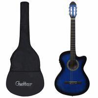 vidaXL Gitarr western 12 delar med EQ-pedal och 6 strängar blå