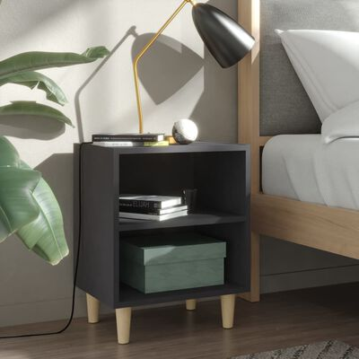 vidaXL Sängbord med ben i massivt trä grå 40x30x50 cm