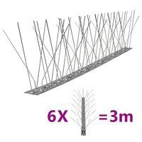 vidaXL 5-raders Fågelpiggar i rostfritt stål 6 st 3 m