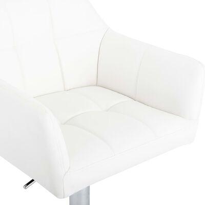vidaXL Barstolar 2 st med armstöd vit konstläder