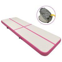 vidaXL Uppblåsbar gymnastikmatta med pump 500x100x15 cm PVC rosa