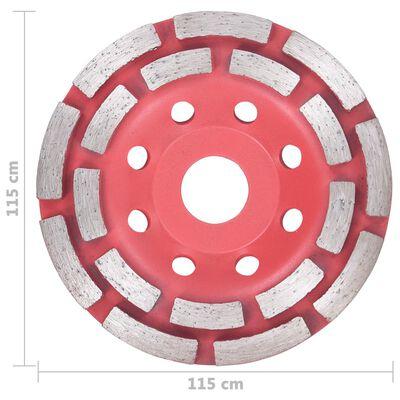 vidaXL Diamantslipskiva med dubbla rader 115 mm