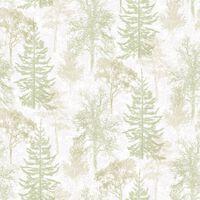 Evergreen Tapet Trees vit och grön
