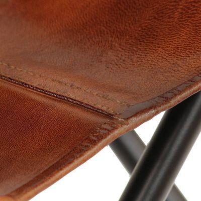 vidaXL Fladdermusfåtöljer 2 st för barn brun äkta läder