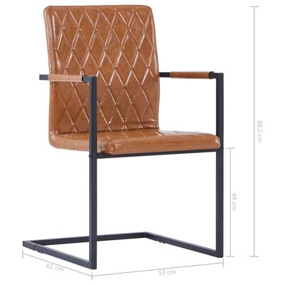 vidaXL Fribärande matstolar 4 st konjak konstläder, Cognac