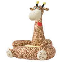 vidaXL Barnstol i plysch giraff brun