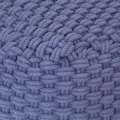 vidaXL Handstickad puff blå 50x50x30 cm bomull