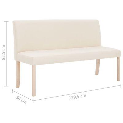 vidaXL Bänk 139,5 cm polyester gräddvit