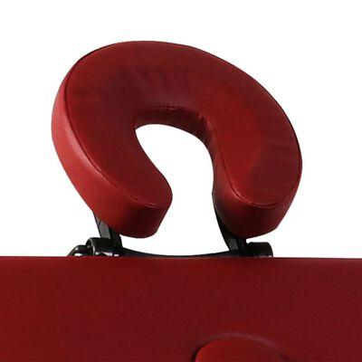 vidaXL Hopfällbar massagebänk med 2 sektioner aluminium röd