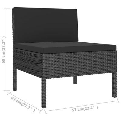 vidaXL Loungegrupp för trädgården med dynor 3 delar konstrotting svart