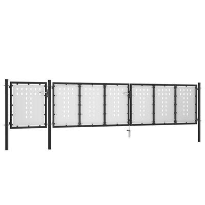vidaXL Trädgårdsgrind stål 500x100 cm svart