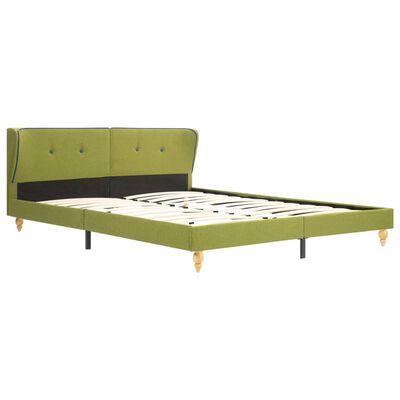 vidaXL Säng med memoryskummadrass grön tyg 160x200 cm