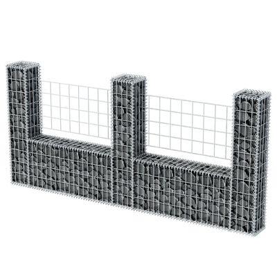 vidaXL Gabionkorg U-formad galvaniserat stål 240x20x100 cm