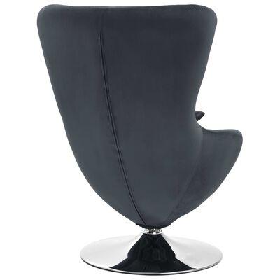 vidaXL Äggformad snurrfåtölj med dyna mörkgrå sammet