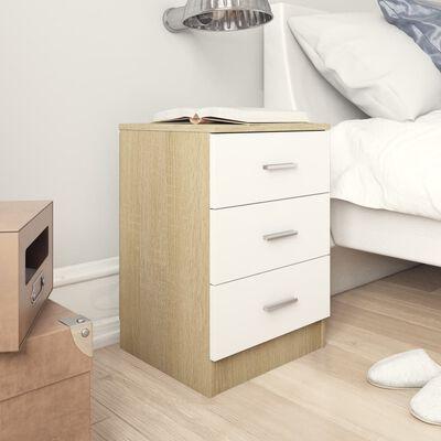 vidaXL Sängbord 2 st vit och sonoma ek 38x35x56 cm spånskiva