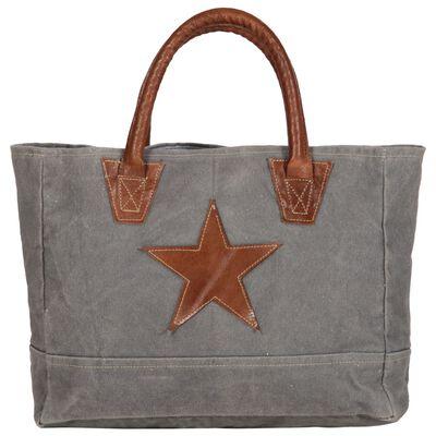 vidaXL Shoppingväska mörkgrå 32x10x37,5 cm kanvas och äkta läder