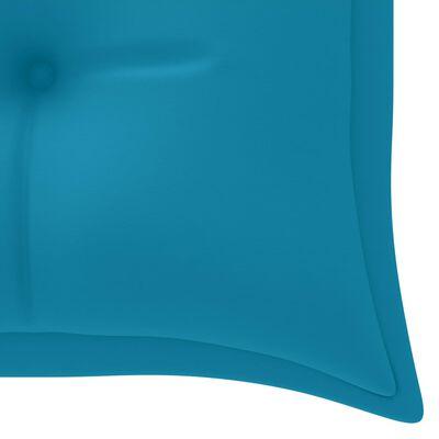 vidaXL Trädgårdsbänk med ljusblå dyna 150 cm massiv teak