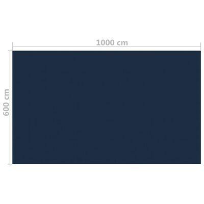 vidaXL Värmeduk för pool PE 1000x600 cm svart och blå