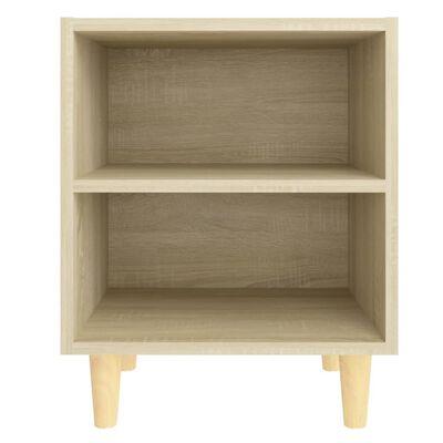 vidaXL Sängbord med ben i massivt trä sonoma-ek 40x30x50 cm