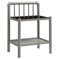 vidaXL Nattduksbord grå och svart 45x34x62,5 cm metall och glas