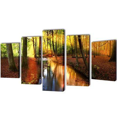 vidaXL Canvastavlor set om 5 skog 200 x 100 cm