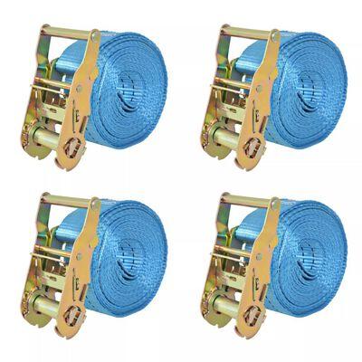 vidaXL Lastspännare med spärr 4 st 2 ton 6mx38mm blå