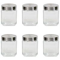 vidaXL Förvaringsburkar i glas med silvriga lock 6 st 1200 ml