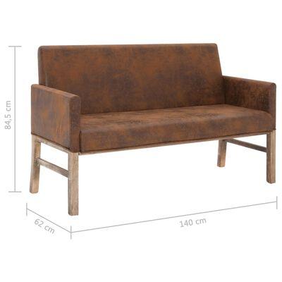 vidaXL Bänk med armstöd 140 cm brun konstmocka