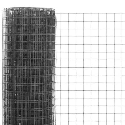 vidaXL Hönsnät stål med PVC-beläggning 10x1 m grå