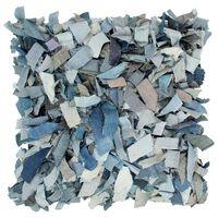 vidaXL Kudde långhårig blå 60x60 cm läder och bomull