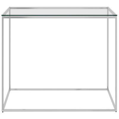 vidaXL Soffbord silver 50x50x43 cm rostfritt stål och glas