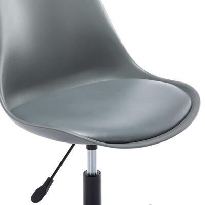 vidaXL Matstol 6 st snurrbara grå konstläder