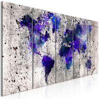 Tavla - World Map: Ink Blots (5 Parts) Narrow - 200x80 Cm