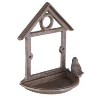 HI Hängande fågelmatare husdesign 18 cm brun