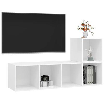 vidaXL TV-skåp 2 delar vit spånskiva
